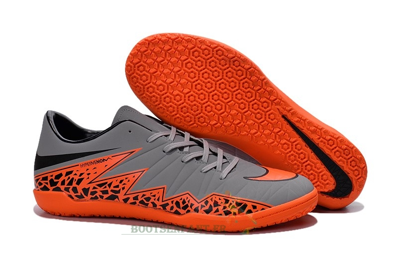 Nike HyperVenom Phelon II IC Gris Orange En Ligne