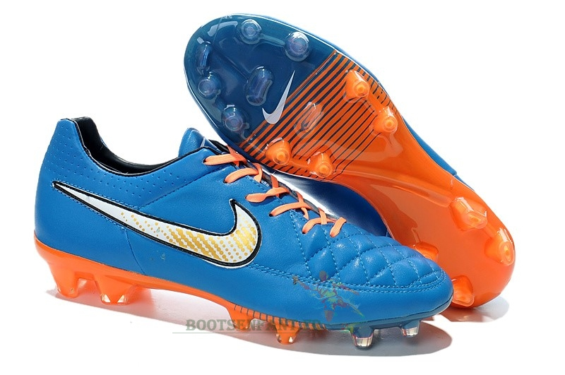 Nike Tiempo Legend V FG Bleu Orange En Ligne